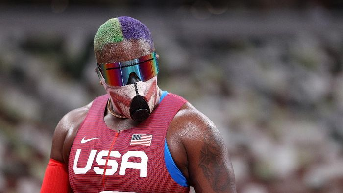 TOKYO, JAPAN - JULY 30: Raven Saunders of Team United States looks on in the Womens Shot Put on day seven of the Tokyo 2020 Olympic Games at Olympic Stadium on July 30, 2021 in Tokyo, Japan. (Photo by Patrick Smith/Getty Images)
