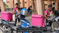 Sedih! Pengantar Makanan Ini Bawa Bayinya Saat Keliling Antar Makanan