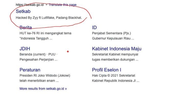 Situs Setkab RI diretas, 31 Juli 2021. (Tangkapan layar Google)