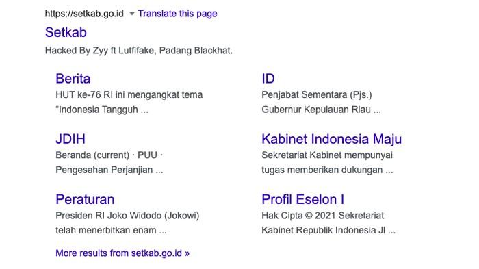 Situs Setkab RI diretas, 31 Juli. (Tangkapan layar Google)