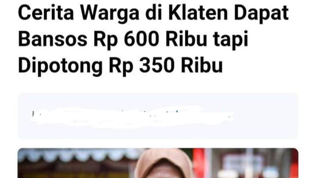 Heboh Bansos di Klaten Dipotong Rp 350.000, Begini Faktanya