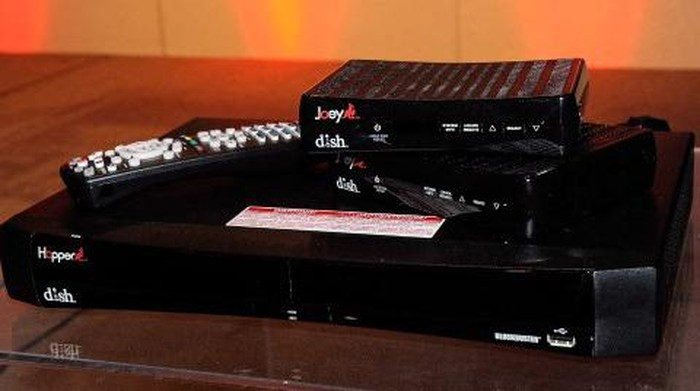 LAS VEGAS, NV - JANUARY 09: The DISH Hopper HD DVR system, including a pair of companion Joey set-top boxes, are displayed during a press event at The Venetian for the 2012 International Consumer Electronics Show (CES) January 9, 2012 in Las Vegas, Nevada. The unit comes with a 2 TB hard drive and can record up to six TV shows at once and can display up to four different shows in four different rooms in a home at the same time. CES, the worlds largest annual consumer technology trade show, runs from January 10-13 and is expected to feature 2,700 exhibitors showing off their latest products and services to about 140,000 attendees.   Ethan Miller/Getty Images/AFP (Photo by Ethan Miller / GETTY IMAGES NORTH AMERICA / Getty Images via AFP)