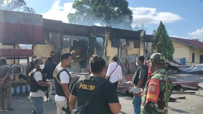Kopleks Polsek Nimboran, Jayapura Masih Dijaga Polri dan TNI (Wilpret Siagian-detikcom)