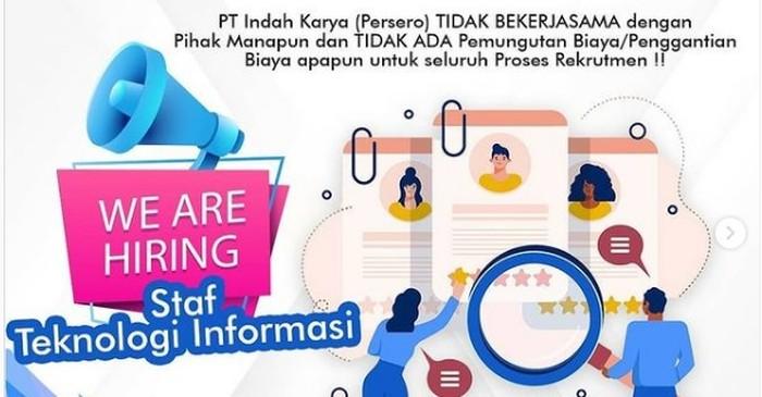 Lowongan BUMN PT Indah Karya Buka Bagi Lulusan D3-S1, Apa Syaratnya?