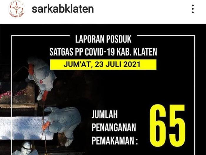 Postingan terakhir di akun Instagram SAR Kabupaten Klaten.