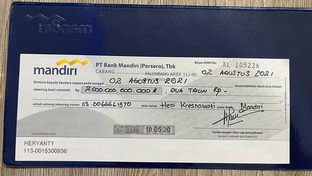 Bilyet giro untuk sumbangan penanganan COVID-19 dari keluarga Akidi Tio (dok Istimewa)