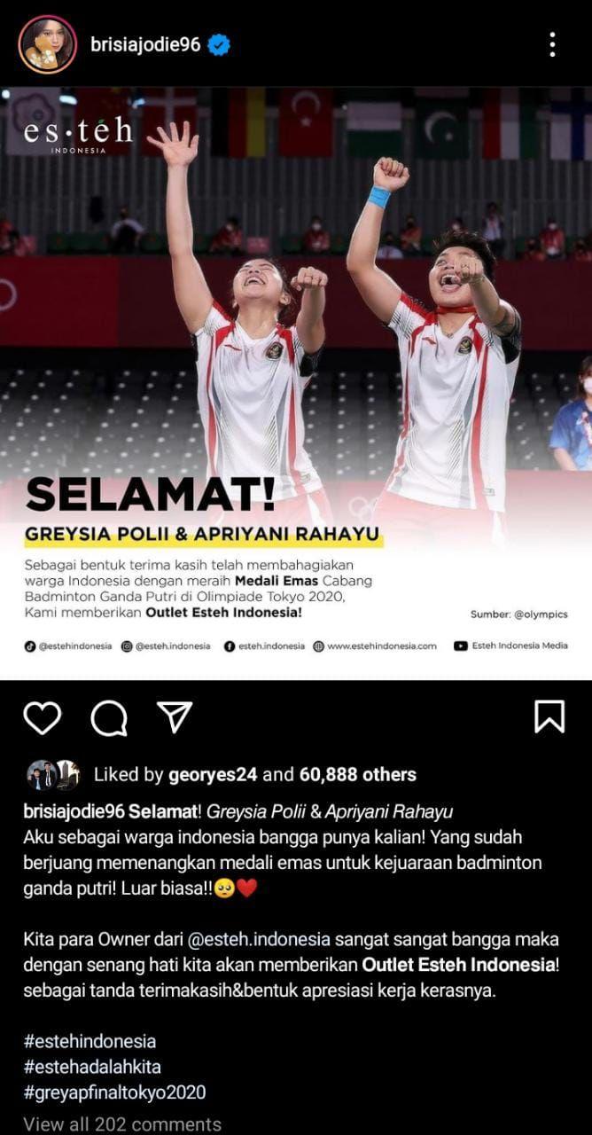 Hadiah Bisnis Kuliner untuk Greysia Polii/Apriyani Rahayu