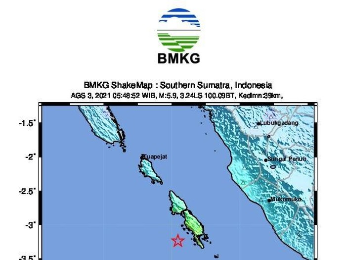 Peta gempa M 5,9 di Mukomuko, Bengkulu dekat Mentawai, Sumbar pagi ini