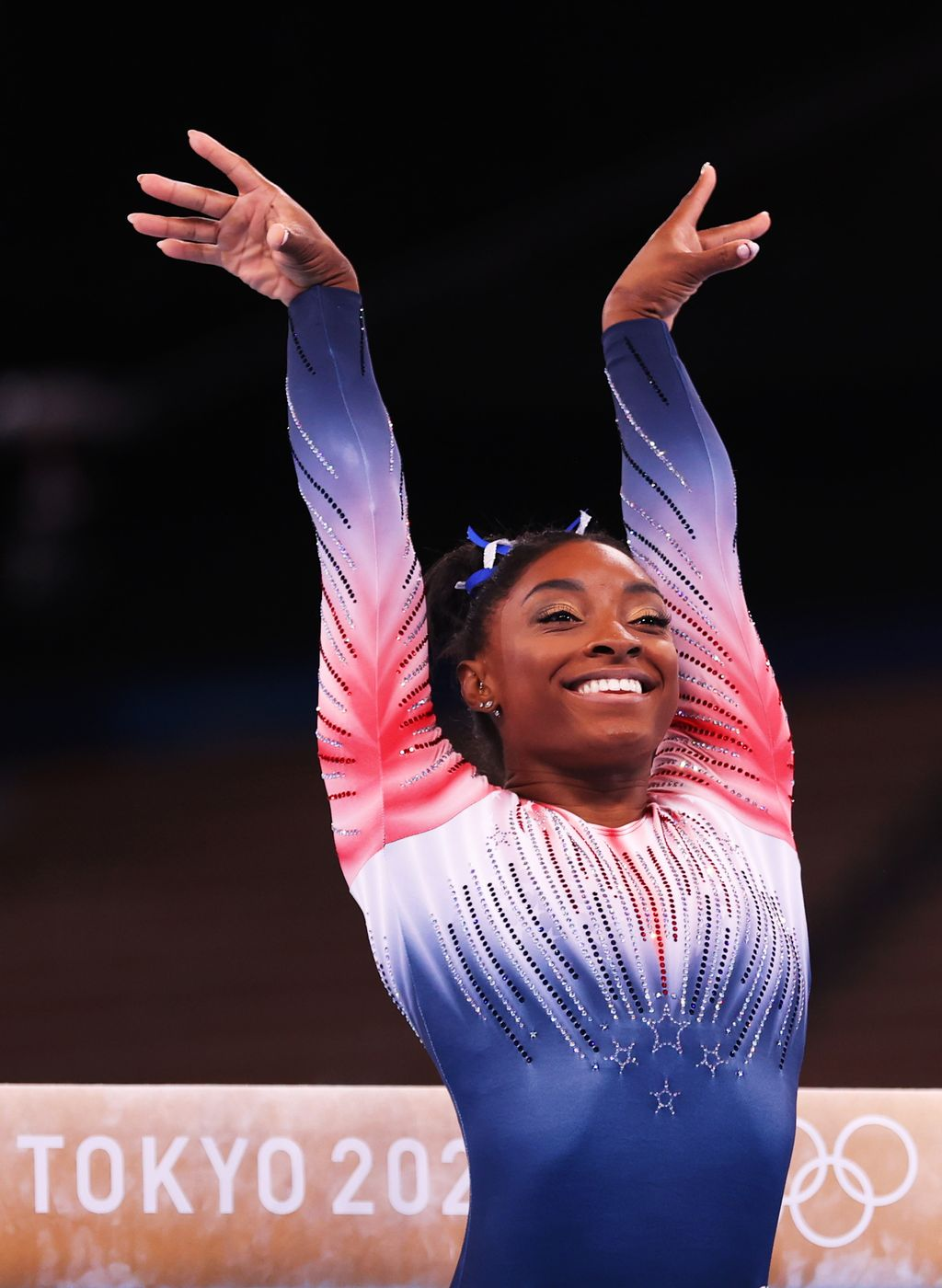 TOKYO, JAPAN - AUGUST 03: Simone Biles of Team United States competes in the Women's Balance Beam Final on day eleven of the Tokyo 2020 Olympic Games at Ariake Gymnastics Centre on August 03, 2021 in Tokyo, Japan. (Photo by Laurence Griffiths/Getty Images)