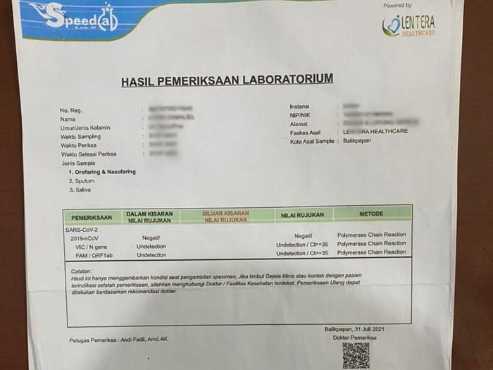 Seorang manajer klinik di Balikpapan, Kalimantan Timur (Kaltim) berinisial P (32) ditangkap lantaran membuat dan menjual surat PCR palsu dengan hasil negatif COVID-19.