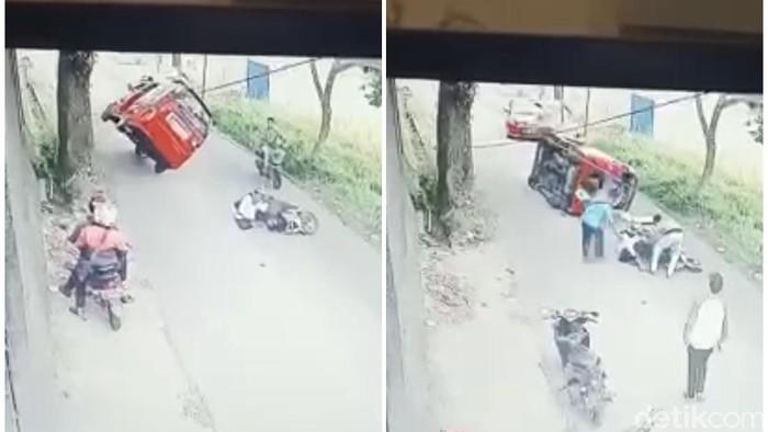 Viral video angkot terguling usai hindari pemotor di Sukabumi