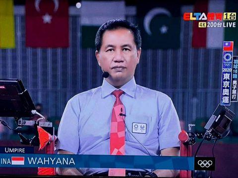 Wasit final bulutangkis Olimpiade 2020 nomor tunggal putri, Wahyana, berasal dari Gunungkidul, DIY, Indonesia.