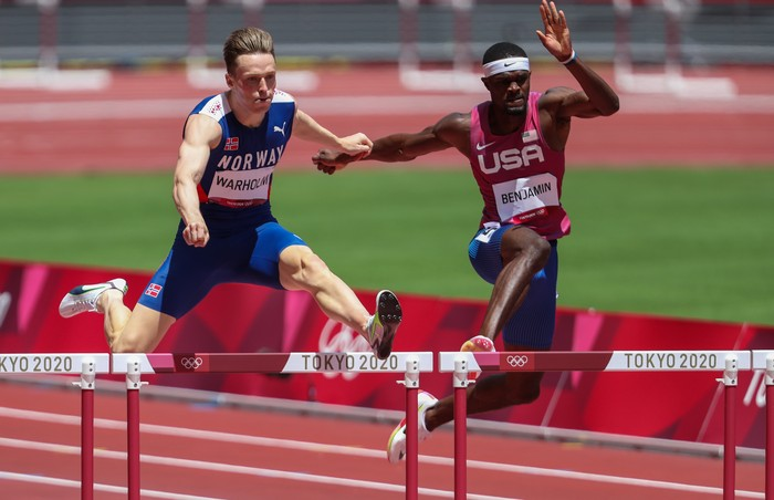 TOKYO, JAPAN - AUGUST 03: Karsten Warholm of Team Norway ran a new world and Olympic record of 45.94 seconds in the mens 400m hurdles during the Athletics event on Day 11 of the Tokyo 2020 Olympic Games at the Olympic Stadium on August 03, 2021 Tokyo, Japan. (Photo by Roger Sedres/Gallo Images)