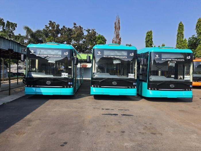 Bus listrik PO Mayasari Bakti yang akan digunakan armada Transjakarta