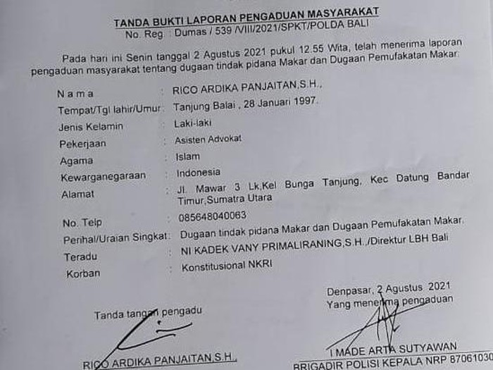 Direktur LBH Bali dilaporkan ke polisi atas dugaan makar