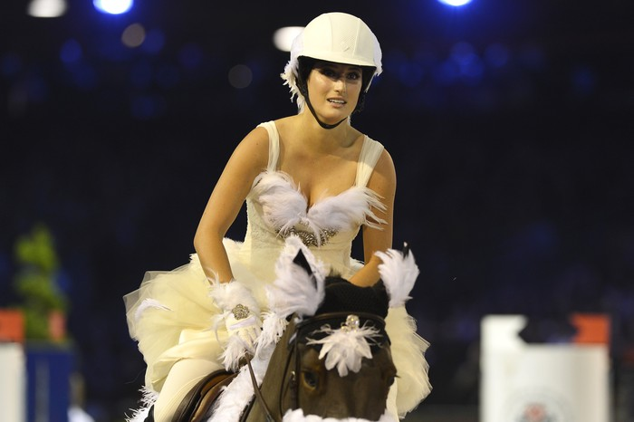 PARIS, FRANCE - DECEMBER 07:  Jessica Springsteen rides Wotsamillion during the Style & Competition for Amade at the Gucci Paris Masters 2013 on December 7, 2013 in Paris, France.  (Photo by Pascal Le Segretain/Getty Images)