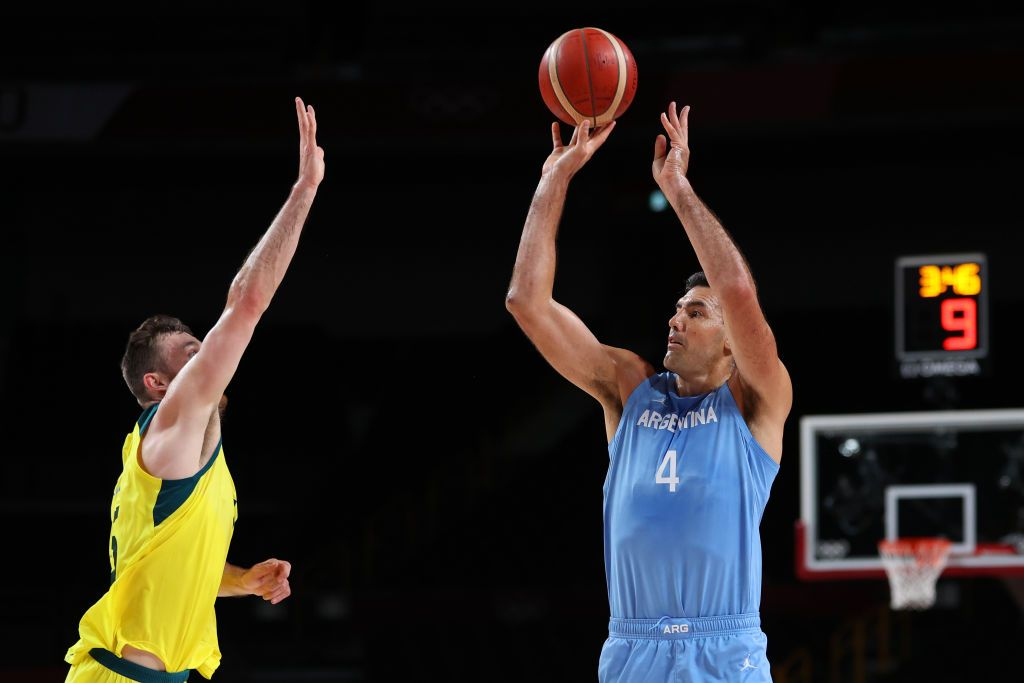 SAITAMA, JAPAN - AUGUST 03: Luis Scola #4 of Team Argentina looks on against Team Australia during the second half of a Men's Basketball Quarterfinal game on day eleven of the Tokyo 2020 Olympic Games at Saitama Super Arena on August 03, 2021 in Saitama, Japan. (Photo by Kevin C. Cox/Getty Images)