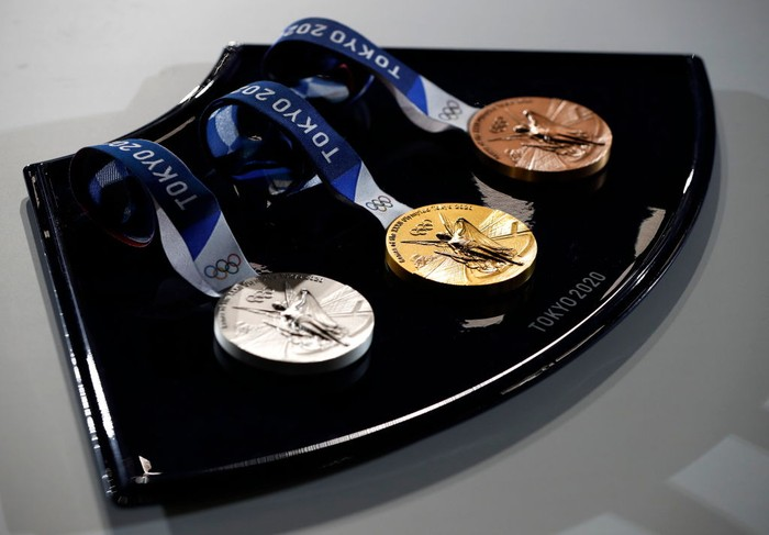 TOKYO, JAPAN - JUNE 03: A medal tray that will be used during the victory ceremonies at the Tokyo 2020 Olympic Games is displayed during an unveiling event for the victory ceremonies items including podium, music, costume and the medal tray for the Olympic and Paralympic games at the Ariake Arena on the day marking the 50 days to go to the Tokyo Olympic Games opening ceremony on June 3, 2021 in Tokyo, Japan. (Photo by Issei Kato - Pool/Getty Images)