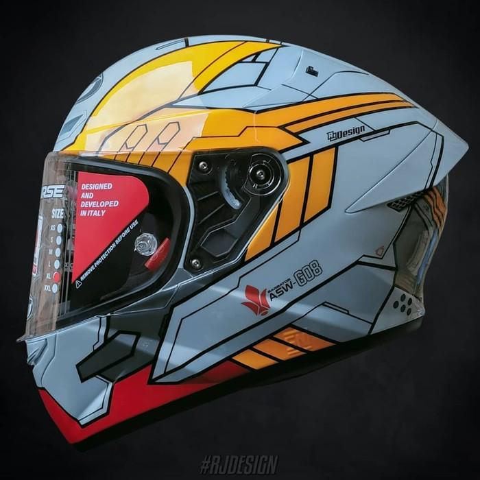 Modifikasi helm KYT TT Course Rider desain Barbatos oleh RJ Paintwork