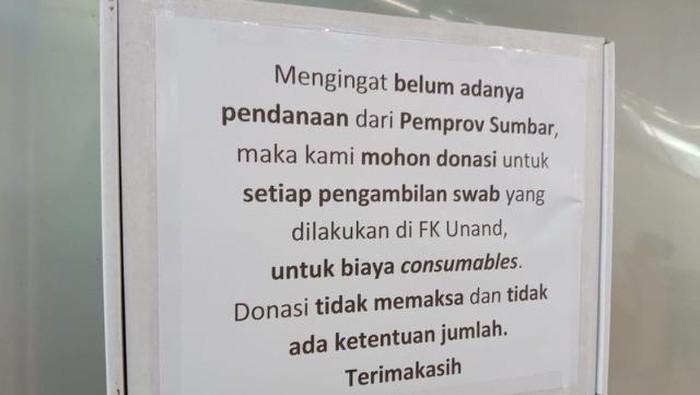 Pemberitahuan permintaan donasi di Lab FK Unand (dok. Istimewa)