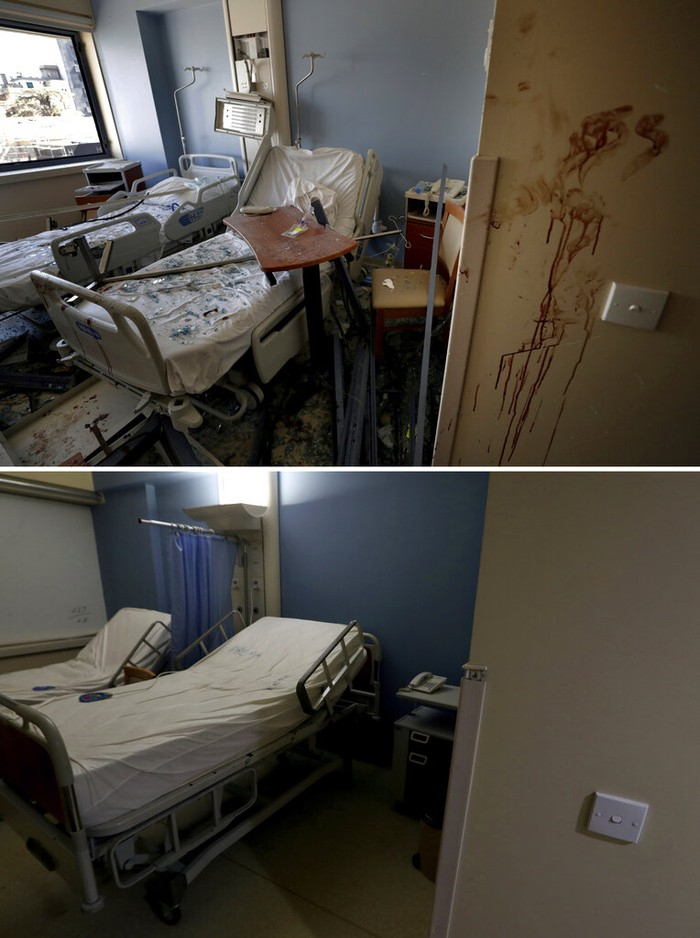 In this two photo combination picture, top photo shows Michel Rahi standing inside a room at the Saint George Hospital University Medical Center that was damaged by the Aug. 4 massive blast at Beirut's seaport, in Beirut, Lebanon, Wednesday, Aug. 5, 2020, and bottom photo shows Michel Rahi stands inside the same room at the Saint George Hospital University Medical Center in Beirut, Lebanon Thursday, July 20, 2021. The hospital is located about 900 meters (yards) from a warehouse in Beirut port, where hundreds of tons of ammonium nitrate, a highly explosive fertilizer, blew up a year ago, triggering one of the largest non-nuclear explosions in history. (AP Photo/Hassan Ammar, Bilal Hussein)