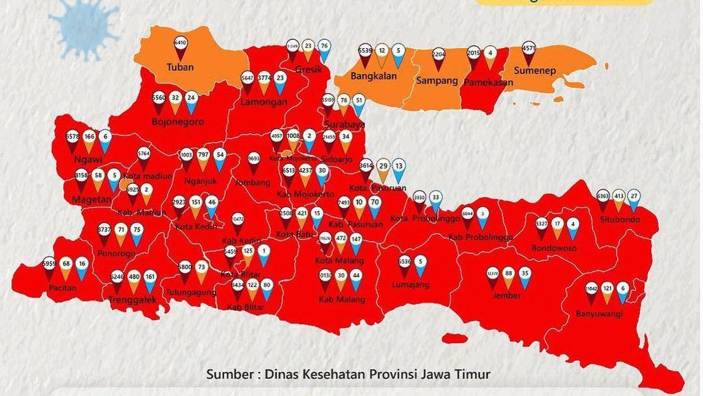 Zona Merah COVID-19 di Jatim Jadi yang Terbanyak se-Indonesia