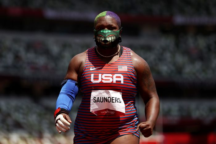 TOKYO, JAPAN - AUGUST 01: Raven Saunders of Team United States competes in the Womens Shot Put Final on day nine of the Tokyo 2020 Olympic Games at Olympic Stadium on August 01, 2021 in Tokyo, Japan. (Photo by Cameron Spencer/Getty Images)