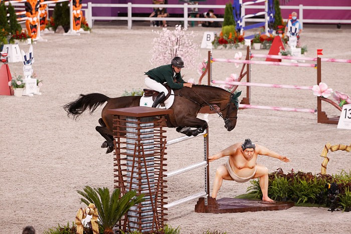 TOKYO, JAPAN - AUGUST 04: Bertram Allen of Team Ireland riding Pacino Amiro competes in the Equestrian Jumping Individual Final on day twelve of the Tokyo 2020 Olympic Games at Equestrian Park on August 04, 2021 in Tokyo, Japan. (Photo by Ezra Shaw/Getty Images)