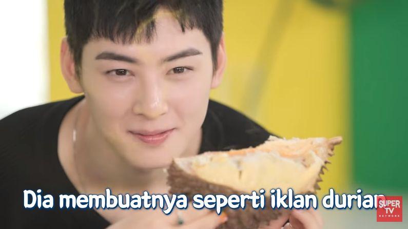 Cha Eun Woo cicip durian pertama kali