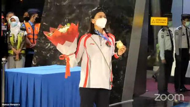 Greysia Polii tiba di Indonesia dengan medali emas Olimpiade Tokyo 2020, Rabu 5 Agustus 2021.