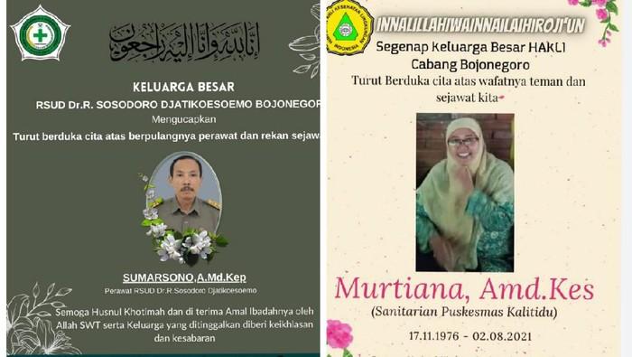 Dua nakes di Bojonegoro meninggal terpapar COVID-19 di awal Agustus ini. Keduanya dimakamkan secara prokes.