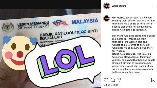 Perempuan Malaysia punya nama unik di SIM