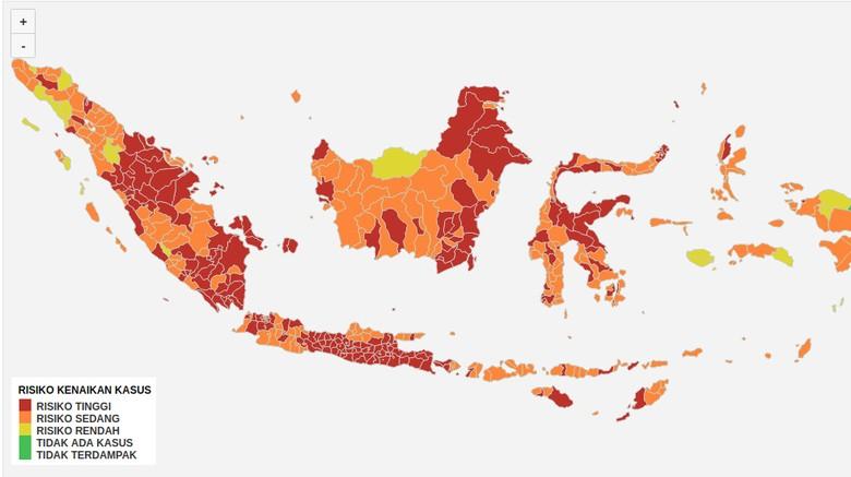 Peta sebaran zona Covid-19 di Indonesia.