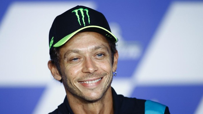 Italian rider Valentino Rossi attends a news conference ahead of the MotoGP motorcycle race Grand Prix of Styria at the Red Bull Ring in Spielberg, Austria, Thursday, Aug. 5, 2021. Rossi announced his retirement as an active MotoGP rider at the end of the 2021 race season. (AP Photo/Gerhard Schiel)
