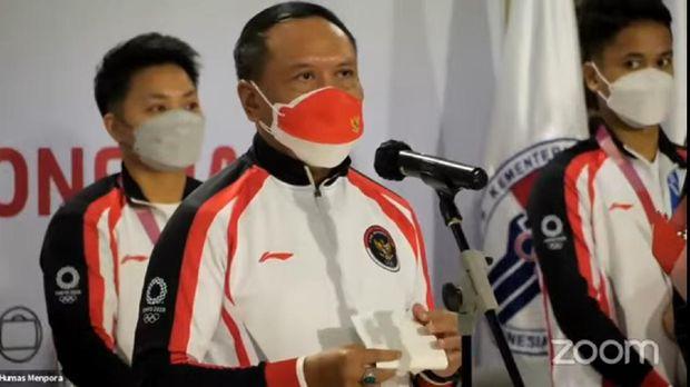 Menteri Pemuda dan Olahraga RI, Zainudin Amali, dalam acara penyambutan Kontingen Indonesia di Bandara Soekarno-Hatta, Jakarta, Rabu 5 Agsutus 2021.