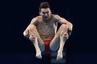 TOKYO, JAPAN - AUGUST 06: Brandon Loschiavo of Team United States competes in the Mens 10m Platform preliminaries on day fourteen of the Tokyo 2020 Olympic Games at Tokyo Aquatics Centre on August 06, 2021 in Tokyo, Japan. (Photo by Tom Pennington/Getty Images)