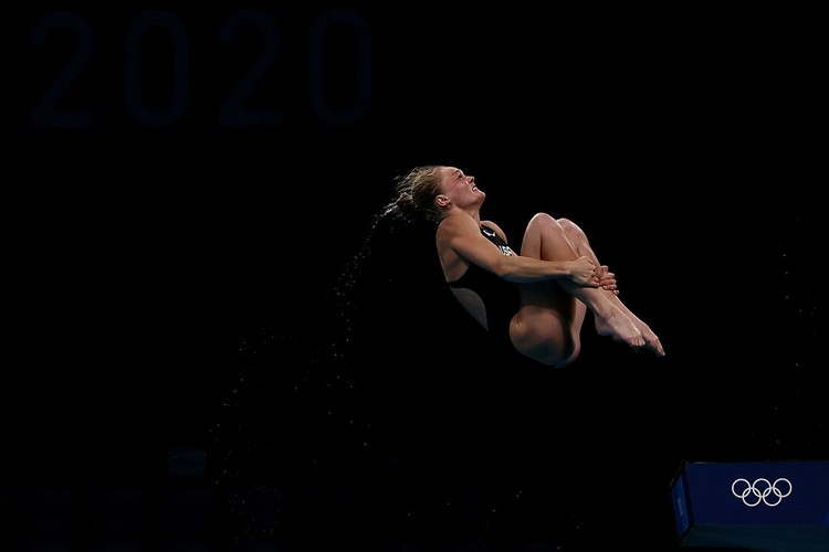 TOKYO, JAPAN - AUGUST 05: Delaney Schnell of Team United States competes in the Womens 10m Platform Final on day thirteen of the Tokyo 2020 Olympic Games at Tokyo Aquatics Centre on August 05, 2021 in Tokyo, Japan. (Photo by Tom Pennington/Getty Images)