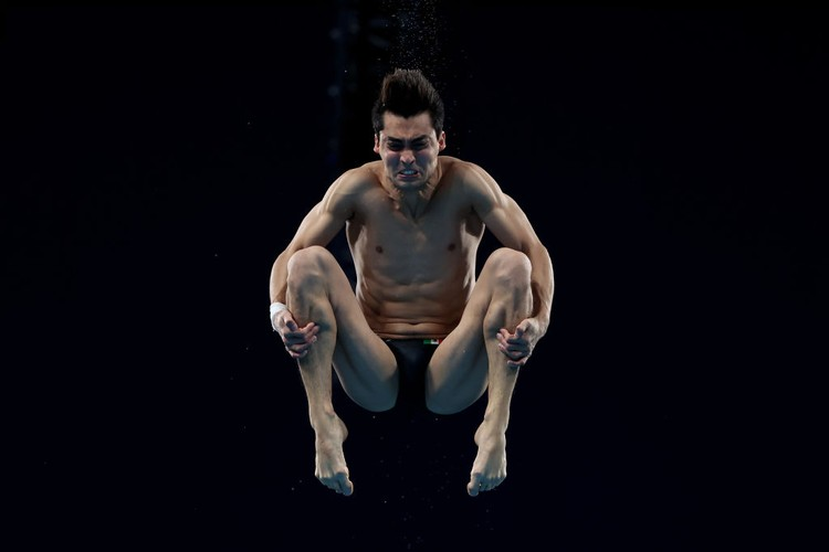 TOKYO, JAPAN - AUGUST 06: Andres Isaac Villarreal Tudon of Team Mexico competes in the Mens 10m Platform preliminaries on day fourteen of the Tokyo 2020 Olympic Games at Tokyo Aquatics Centre on August 06, 2021 in Tokyo, Japan. (Photo by Tom Pennington/Getty Images)