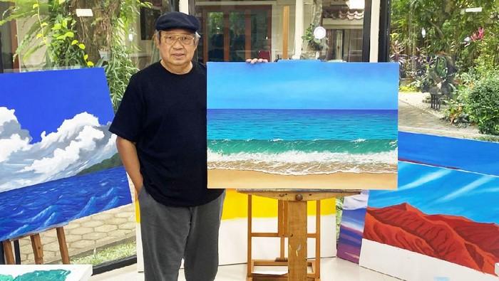 Lukisan SBY berjudul Debur Ombak Di Pantai Pacitan
