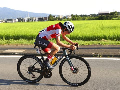 Anna Kiesenhofer of Austria competes in the women's cycling road race at the 2020 Summer Olympics, Sunday, July 25, 2021, in Oyama, Japan. (Michael Steele/Pool Photo via AP)