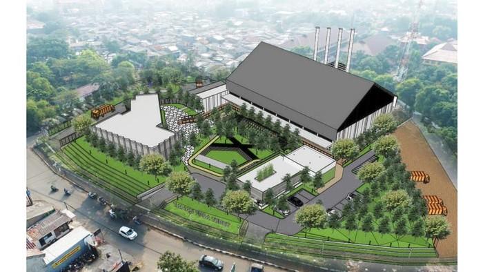 Desian proyek Fasilitas Pengelolaan Sampah Antara (FPSA) di kawasan Taman Tebet, Jakarta Selatan.