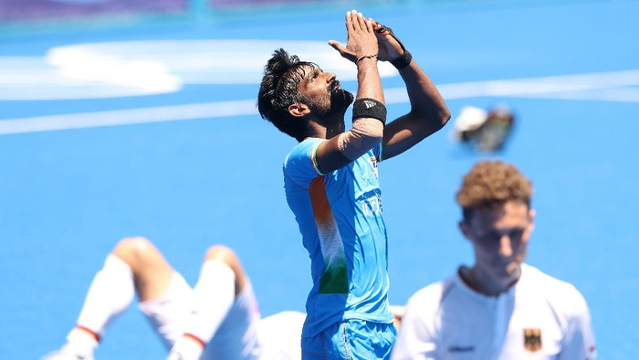 TOKYO, JAPAN - AUGUST 05: Sumit of Team India reacts after winning the Mens Bronze medal match between Germany and India on day thirteen of the Tokyo 2020 Olympic Games at Oi Hockey Stadium on August 05, 2021 in Tokyo, Japan. (Photo by Alexander Hassenstein/Getty Images)