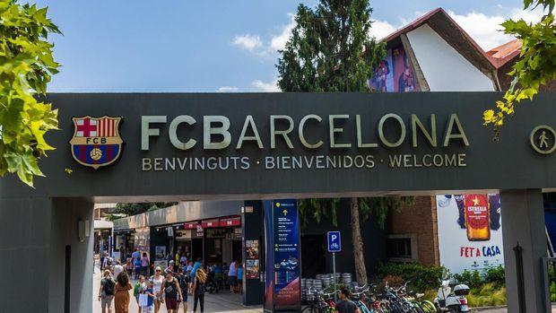 Barcelona, Spain - July 31, 2019: Sign near the Camp Nou football soccer stadium