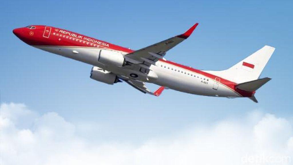 Penerbangan Perdana Pesawat Kepresidenan Usai Berganti Warna