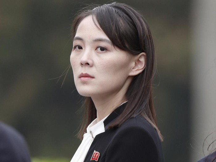 FILE - In this March 2, 2019, file photo, Kim Yo Jong, sister of North Koreas leader Kim Jong Un attends a wreath-laying ceremony at Ho Chi Minh Mausoleum in Hanoi, Vietnam. The powerful sister of North Korean leader Kim ripped South Korea for proceeding with military exercises with the United States she claimed are an invasion rehearsal and warned that the North will speed up its efforts to strengthen its pre-emptive strike capabilities. (Jorge Silva/Pool Photo via AP, File)