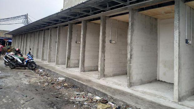 Kondisi pembangunan Pasar Kambing Tanah Abang, Selasa (10/11/2021),