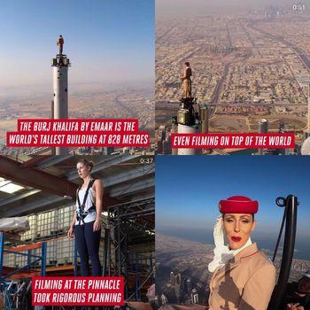 Viral pramugari Emirates berdiri di atas puncak Burjkhalifa.