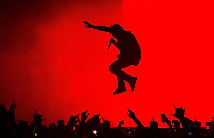 SYDNEY, AUSTRALIA - SEPTEMBER 12:  Kanye West performs live for fans at Qantas Credit Union Arena on September 12, 2014 in Sydney, Australia.  (Photo by Mark Metcalfe/Getty Images)