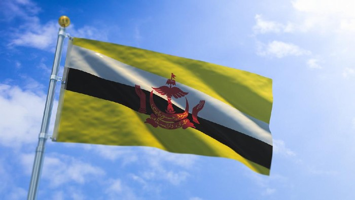 A stock photo/3D Render of the Brunei flag.