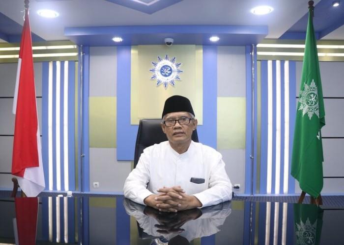 Ketua PP Muhammadiyah Haedar Nashir saat konferensi pers virtual pendirian Universiti Muhammadiyah Malaysia